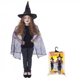 Karnevalový kostým čarodejnice / halloween - plášť + klobúk