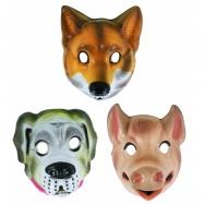Maska plastová - zvierata domáce, 3 druhy