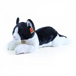pluszowy kot leżący czarno-biały 35 cm