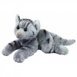 Plyšová kočka ležící, 18 cm