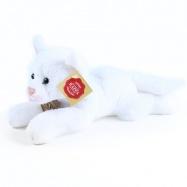 plyšová kočka ležící bílá 18 cm