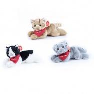 plyšová kočka ležící se šátkem, 3 druhy, 16 cm