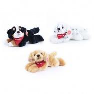 plyšový pes ležící se šátkem, 3 druhy, 30 cm