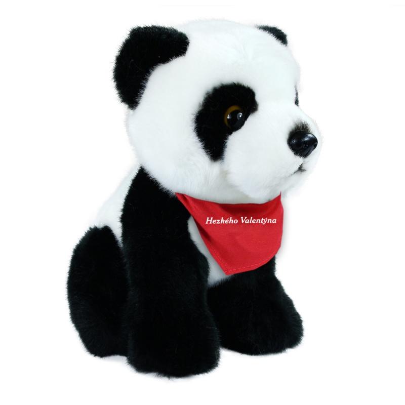 plyšová panda sedící, 18 cm se šátkem