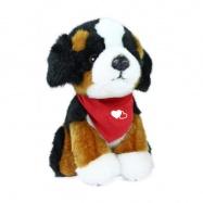 plyšový pes salašnický sedící, 18 cm se šátkem
