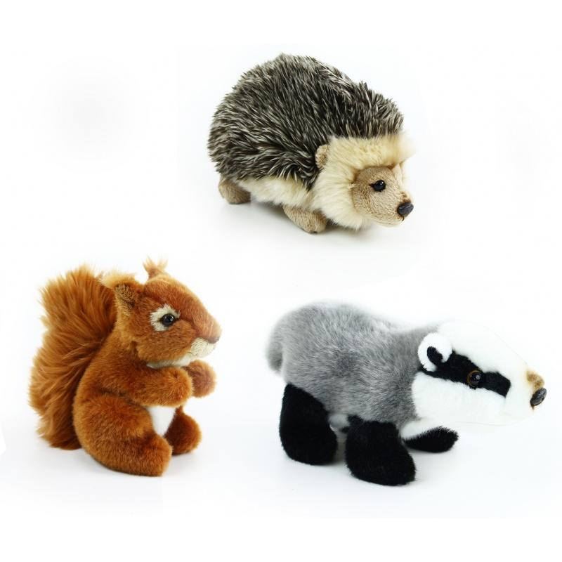 plyšová veverka, jezevec a ježek, sada lesní, 16 cm