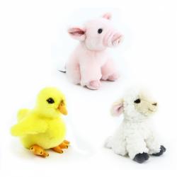 plyšová ovce, kuře, prase, sada farma 16 cm