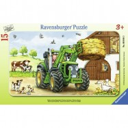 Ravensburger puzzle w ramce traktor na farmie
