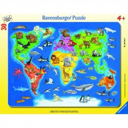 Puzzle Mapa Świata zwierząt 30