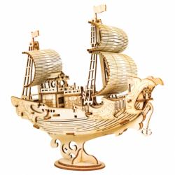 RoboTime drevené 3D puzzle Japonská plachetnica