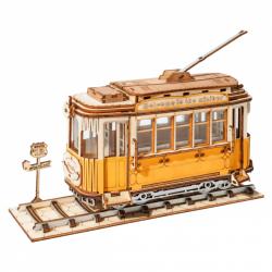 RoboTime drevené 3D puzzle Historická električka