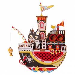 RoboTime 3D skladačka hracie skrinky Mačacie loďka