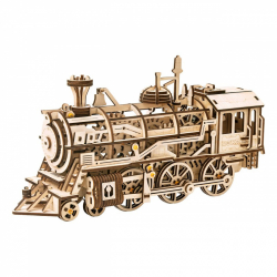 RoboTime 3D drevené mechanické puzzle Parná lokomotíva