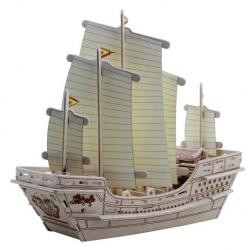Drevené skladačky 3D puzzle - Drevený koráb Zhenge