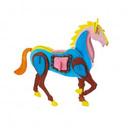 RoboTime Drevená skladačka kôň + farby a štetec