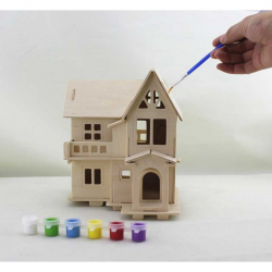 Drevený domček pre bábiky Katie natur s farbami