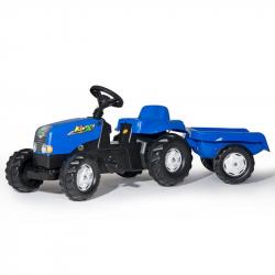 Šliapací traktor Rolly Kid s vlečkou modrý