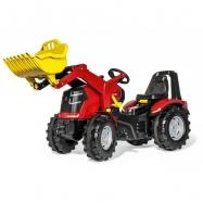 Šlapací traktor X-Trac Premium červený s předním nakladačem