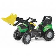 Šliapací traktor Deutz Agrotron s nakladačom zelený
