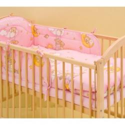 Komplet 3 częściowy do łóżeczka Chmurka - różowy