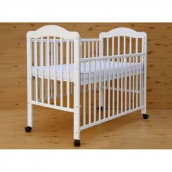Łóżeczko dziecięce Scarlett Alek z opuszczanym bokiem, buk - białe 120x60 cm