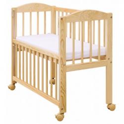 Dětská postýlka k posteli rodičů BABY Scarlett (borovice), st. bok - přírodní 90 x 41 cm