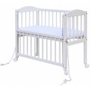 Detská postieľka k posteli rodičov BABY Scarlett (borovica), st. bok - biela 90 x 41 cm