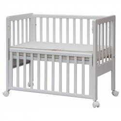 Łóżeczko dziecięce Scarlett Baby Ana z opuszczanym bokiem, buk- białe 90x41 cm