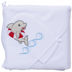 Froté ručník - Scarlett delfín s kapucí - bílá