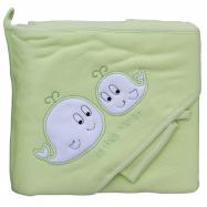 Froté uterák - Scarlett veľryby s kapucňou - zelená