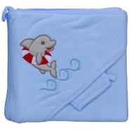 Froté uterák - Scarlett delfín s kapucňou - modrá
