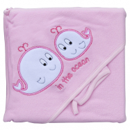 Froté uterák - Scarlett veľryby s kapucňou - ružová