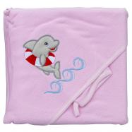 Froté uterák - Scarlett delfín s kapucňou - ružová