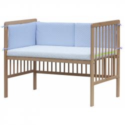 Czteroczęściowy ochraniacz do łóżeczka – Scarlett Pikowany - 180 x 30 cm – niebieski