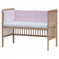 Czteroczęściowy ochraniacz do łóżeczka – Scarlett Pikowany - 180 x 30 cm - różowy