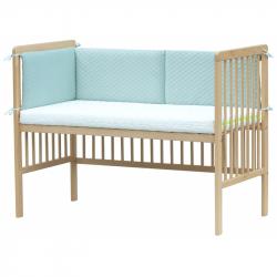 Czteroczęściowy ochraniacz do łóżeczka – Scarlett Pikowany - 180 x 30 cm – turkus