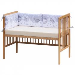 Czteroczęściowy ochraniacz do łóżeczka – Scarlett Lucy - 180 x 30 cm - szary
