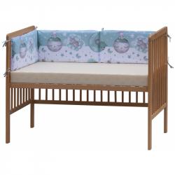 Czteroczęściowy ochraniacz do łóżeczka – Scarlett Lucy - 180 x 30 cm - turkus
