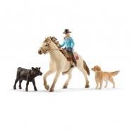 set westernová jezdkyně se zvířátky