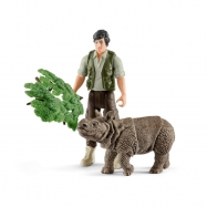 set indický nosorožec v džungli