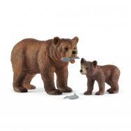 Matka Grizzly z małym niedźwiedziem