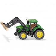 SIKU Blister - traktor John Deere s uchopovačem klád