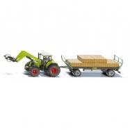 SIKU Farmer - Traktor s balíkovacím nástavcem a vlekem 1:50