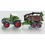 Kovový model - Siku Blister - Traktor s prívesom na guľatinu
