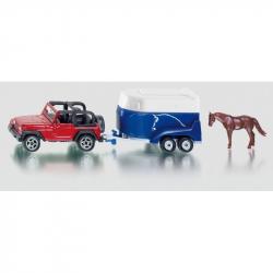 Kovový model - Siku Blister - Terénne auto s prívesom a koňom