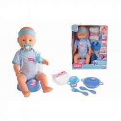 New Born Baby 0044 Lalka funkcyjna Bobas sikający CHŁOPIEC 43cm