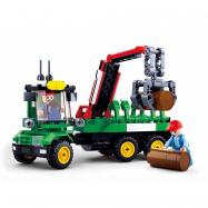 Sluban Town Farm M38-B0778 Ciągnik z przyczepą do transportu drewna