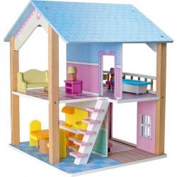 Drevený domček pre bábiky Modrá strecha