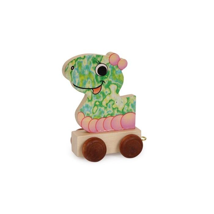 Dřevěné hračky - Vláček abeceda - Vagónek dračí hlava