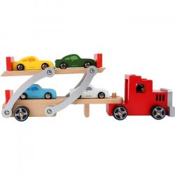 Drevený kamión s autami